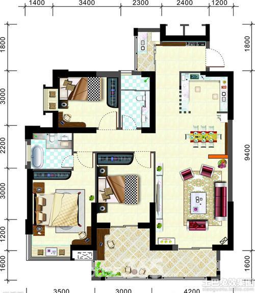 现代三室一厅装修设计图