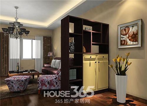 这款客厅隔断效果图中原木色的色调很温馨,与整个客厅的气氛协调,很