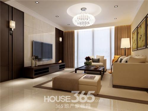 这款是客厅的现代风格装修样板间,昏黄的室内装修打造一种高清图片