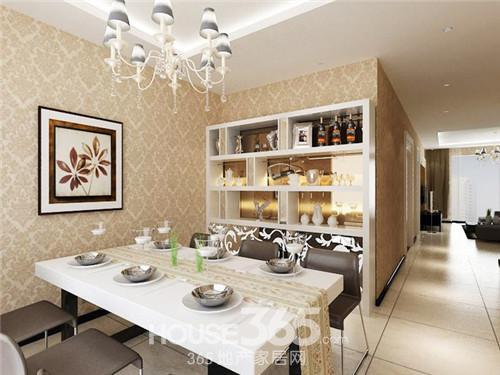 现代风格装修样板间,印花的壁纸让简约的风格种透露着一点欧式的华丽