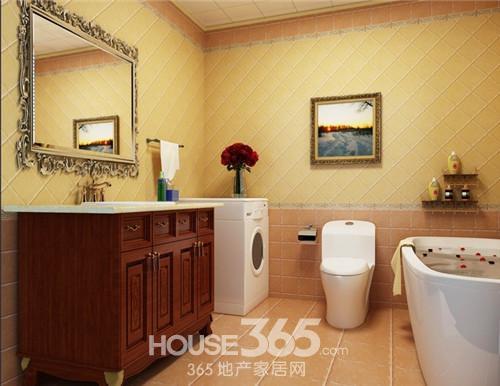 美式装修风格中的卫生间加洗衣房,从洗衣台还是能看到简约的欧式风格.