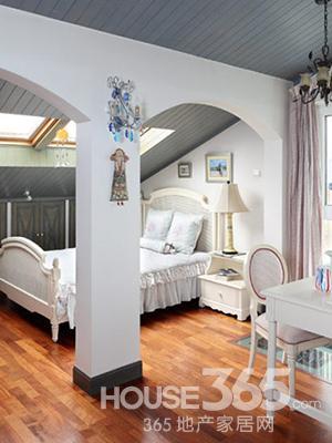 儿童卧室装修效果图:拱门搭配上白色欧式公主床