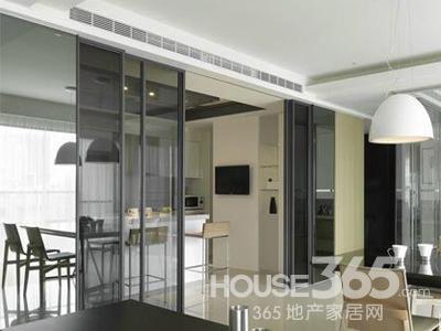 家装玻璃隔断效果图:有些厨房连通生活阳台,不少人会将厨房阳台之高清图片