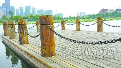 芜湖西洋湖公园亲水平台新置铁链护栏