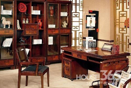 中式书房手绘效果图 走进浓浓墨香