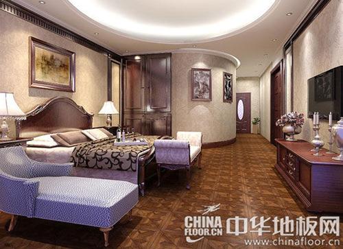 古典风格卧室拼花地板装修效果图