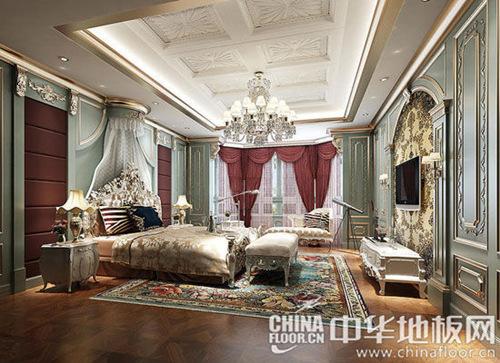 新古典主义的大床,抛去了繁琐的装饰花纹,却也韵味十足.图片