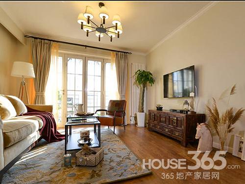 轻美式风格 二居室客厅装修效果图