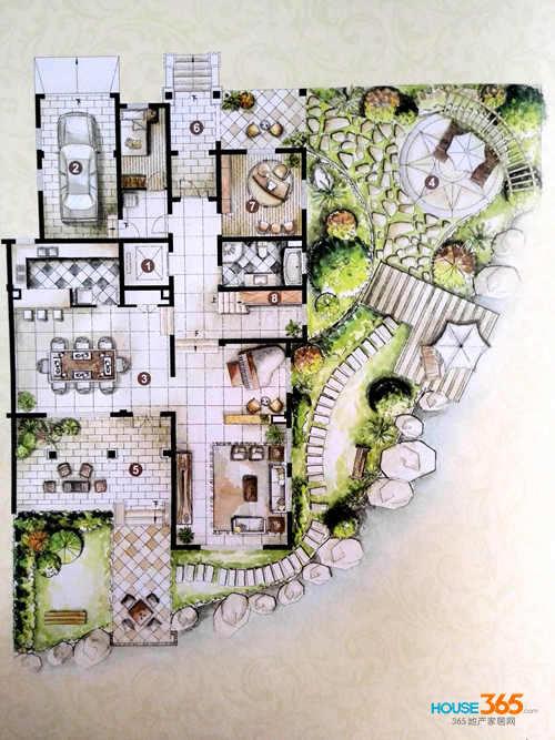家用餐厅手绘平面图