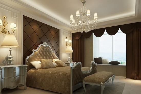 卧室棕色软包的设计,这款床头背景软包效果图也是加入