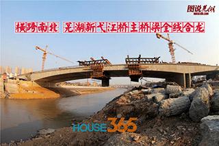 高清图集|横跨南北 芜湖新弋江桥主桥梁全线合龙