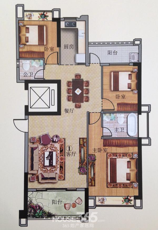 典雅三房: 2栋三至十三层1号房平面图   户型特点: 板式小高层设计