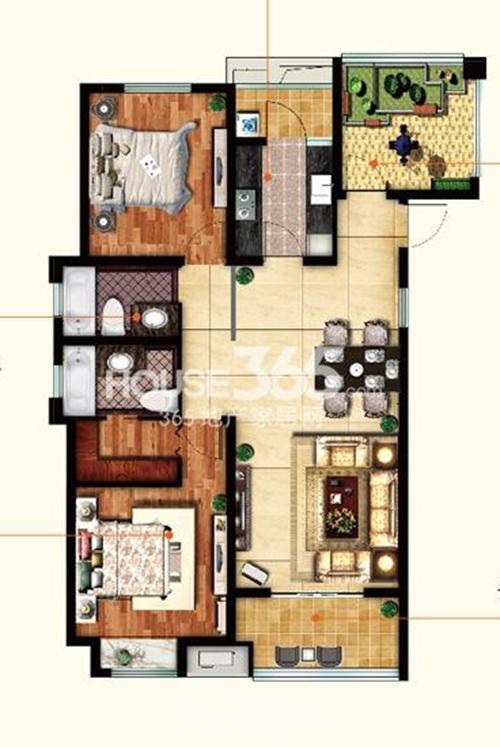 主卧套房设计,自带独立卫生间,全面提升主卧舒适指数 2.
