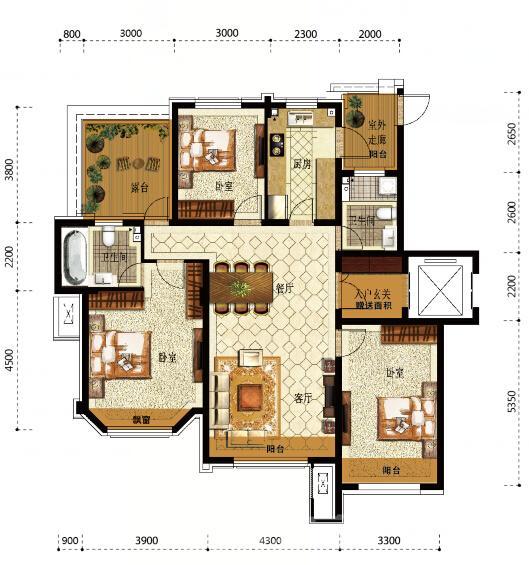 万锦香樟树洋房三层平面图