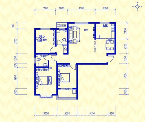 60平方三室平面设计图