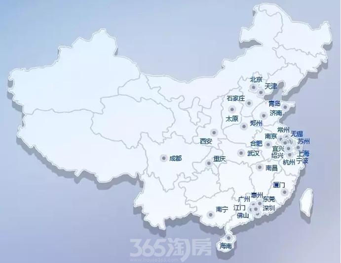 融创中国全国区域项目分布图