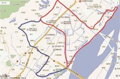 江北新区区划调整示意图(红线部分为原有核心区,蓝线部分为扩容区。备注:粗略示意图仅供参考,最终区划以官方发布为准)
