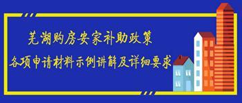 芜湖安家补助各申请材料示例讲解