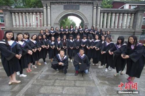 资料图:山西大学毕业生在校园拍摄毕业大合影。中新社记者 张云 摄
