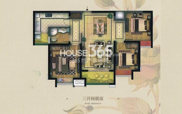 实地玫瑰庄园B1户型3室2厅1卫 108.5平方米