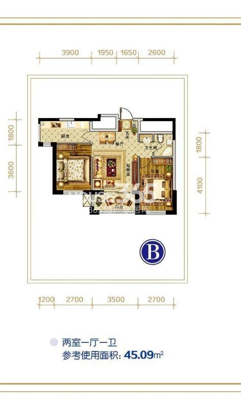 B户型 两室一厅一厨一卫 参考使用面积45.09㎡