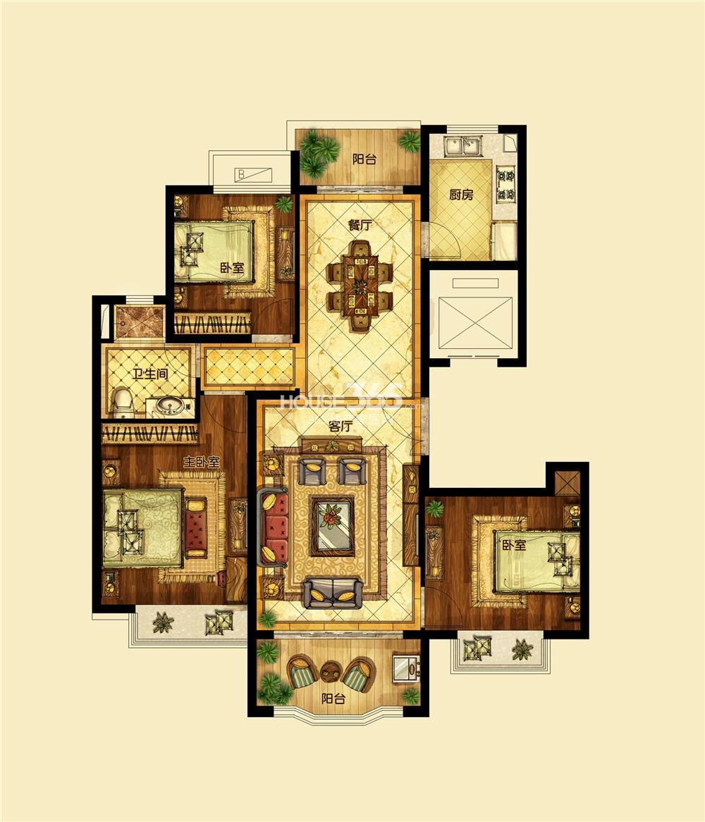 恒大翡翠华庭1期标准层A户型 三房两厅一卫