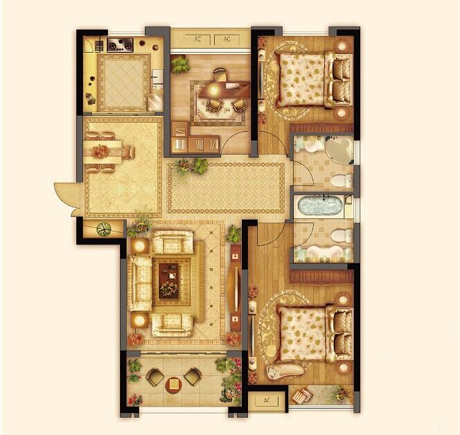 七里香都 枫丹名邸 C1户型三室两厅两卫约114平2013.11.22