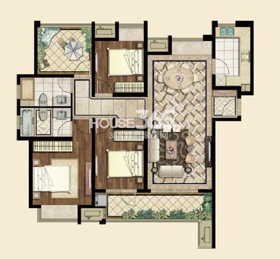 九龙仓碧堤半岛A1户型142平,三房两厅两卫+空中花园