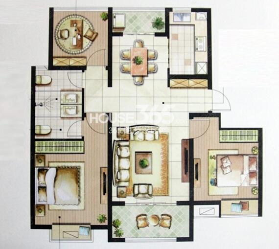 星榈湾F户型三室两厅两卫106-112㎡