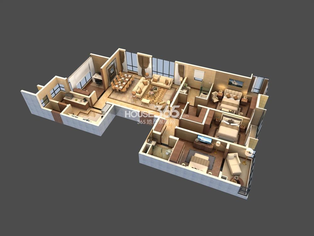 仁恒江湾城200平米户型模型图