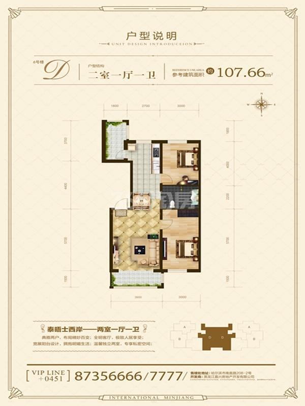 6#D户型两室一厅一厨一卫