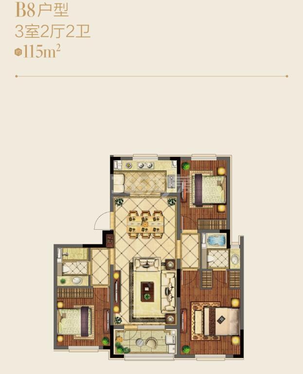 朗诗绿洲天屿洋房B8户型图约115平3室2厅2卫