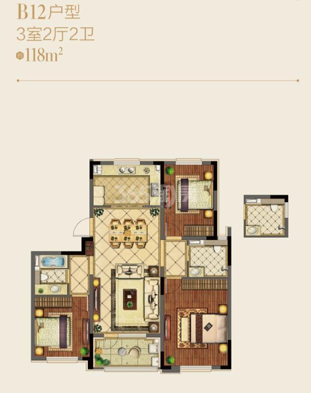 朗诗绿洲天屿洋房B12户型图约118平3室2厅2卫