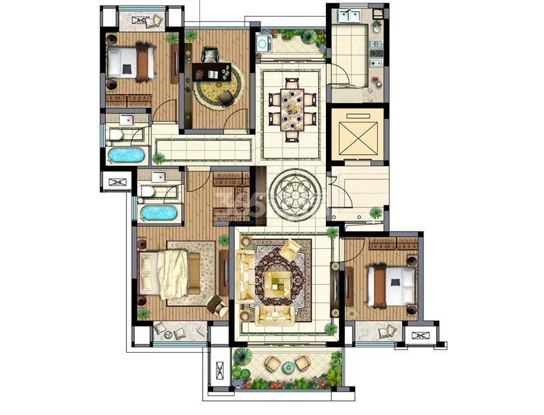 中旅狮山名门高层7号楼A1户型面积140㎡3室2厅2卫