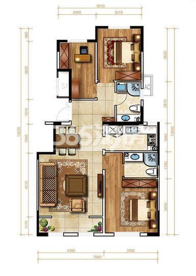 洋房23号楼B户型 106平米 3室2厅2卫(售完)