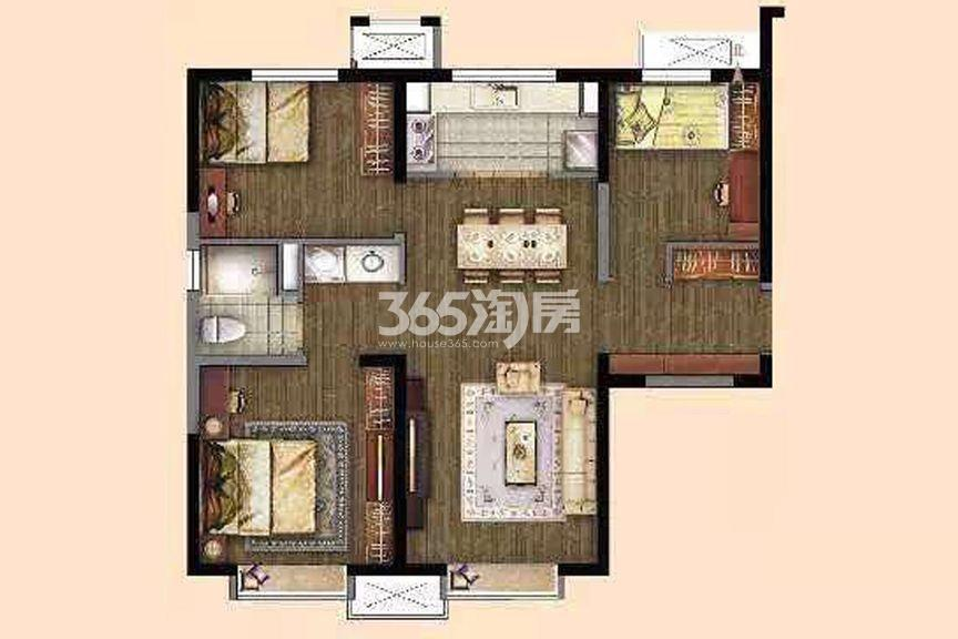 高层标准层101㎡ 3室2厅1厨1卫