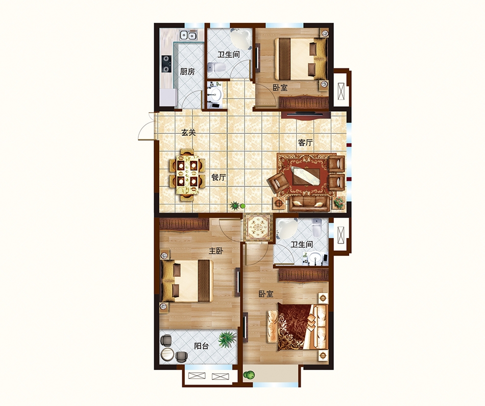 D户型-112-115㎡-三室两厅两卫
