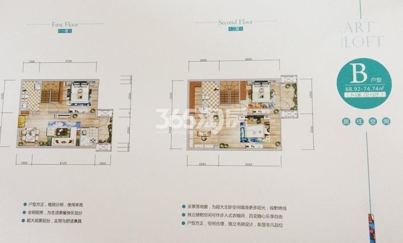美苑楼尚LOFT B户型平面图68.92-74.74㎡