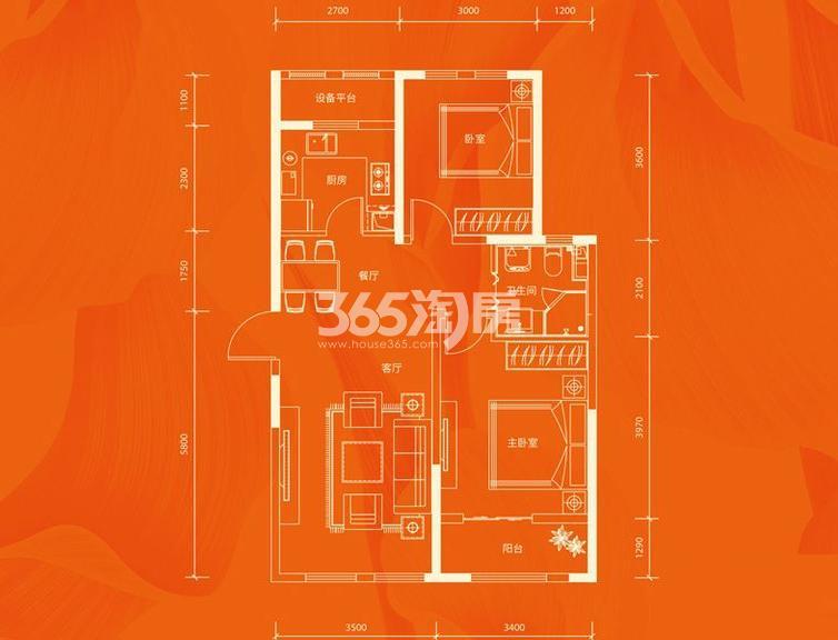 公寓3号楼标准层A户型 2室2厅1厨1卫 97.66平米