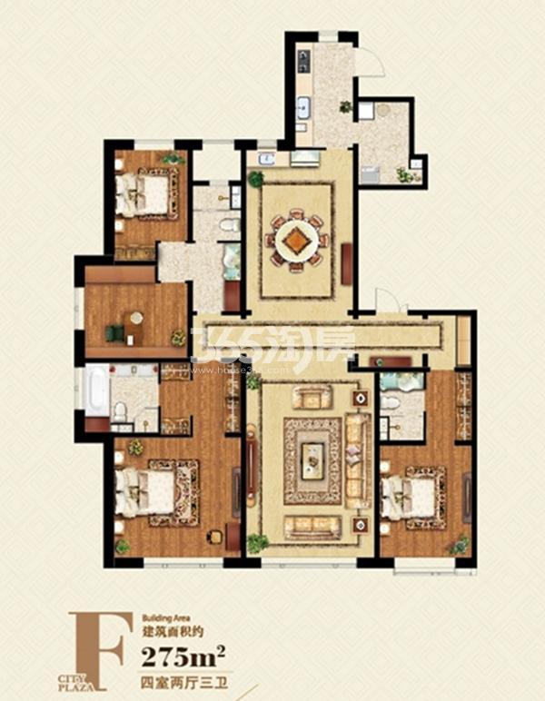 F户型 275平米四室两厅两卫