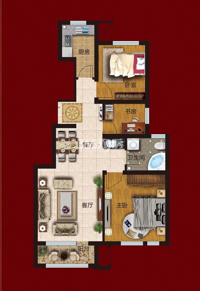 洋房93平米 三室两厅一卫