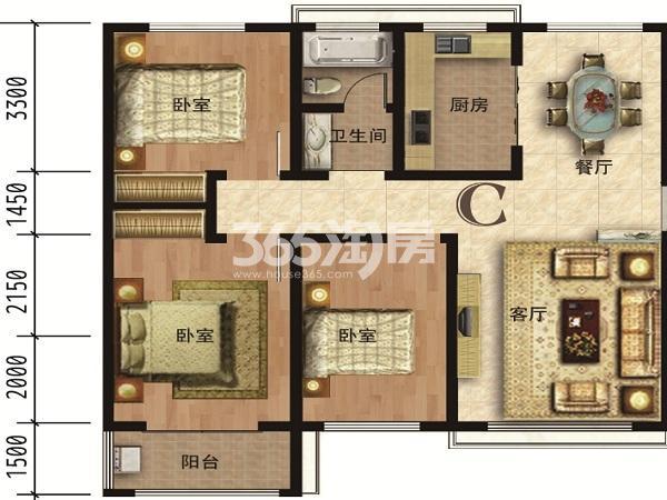 高层C户型127㎡三室两厅一卫调整后