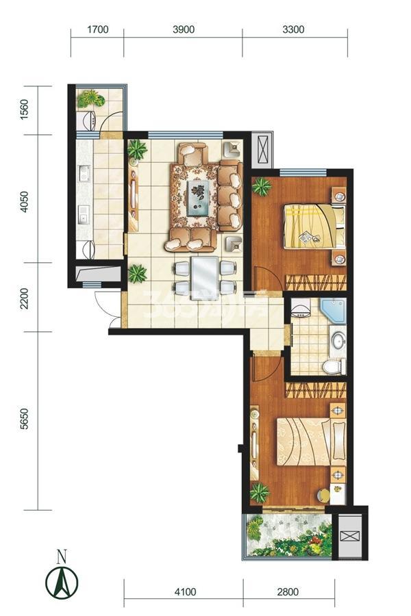 F户型 两室两厅一卫 建筑面积约(东单元)92.09㎡(西单元)92.82㎡