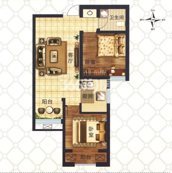 D5户型 两室一厅一卫一厨 建筑面积约71.95㎡