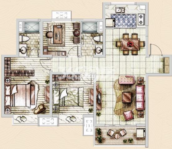 美的乐城高层3室2厅115㎡户型