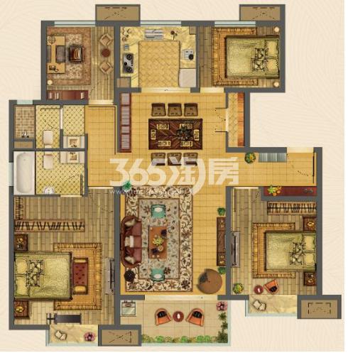 美的乐城4室2厅125㎡户型