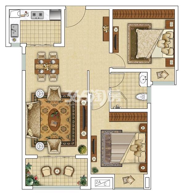 F(反)两室两厅户型图