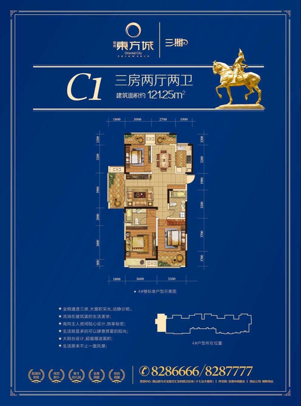 东方城三期c1户型121.25㎡