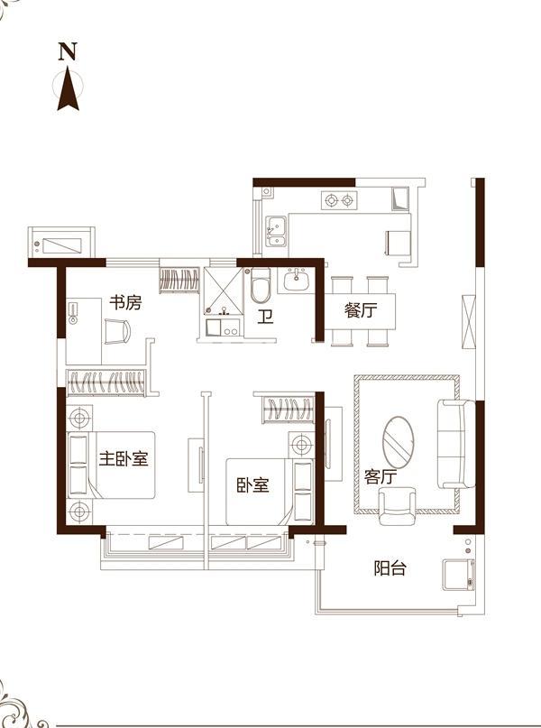 90㎡三室户型
