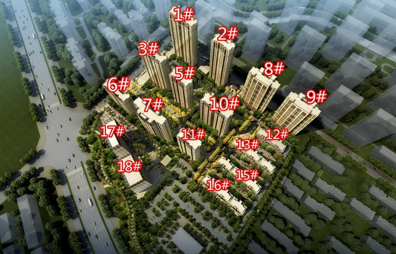 绿地理想城悦山公馆鸟瞰图